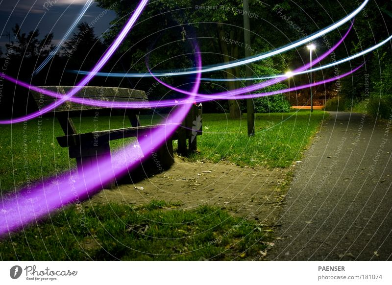 ghost Colour photo Exterior shot Experimental Abstract Deserted Copy Space right Copy Space bottom Night Artificial light Long exposure Shallow depth of field