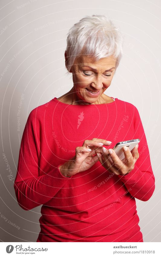 senior woman using smartphone Human being Woman Old Adults Senior citizen Lifestyle Modern Technology 60 years and older Telecommunications Smiling