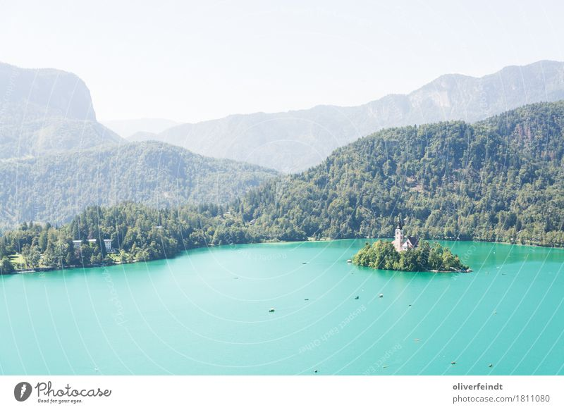 Slovenia - Bled Vacation & Travel Trip Adventure Far-off places Freedom Environment Nature Landscape Water Sky Cloudless sky Beautiful weather Hill Mountain