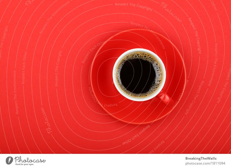 Black coffee in red cup with saucer on red paper, top view Breakfast To have a coffee Beverage Hot drink Coffee Mug To enjoy Aggression Strong Red Might Energy