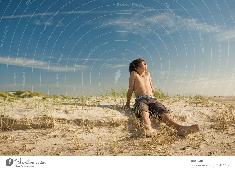Human being Child Nature Youth (Young adults) Sky Ocean Summer Beach Vacation & Travel Calm Joy Relaxation Boy (child) Grass Dream Looking