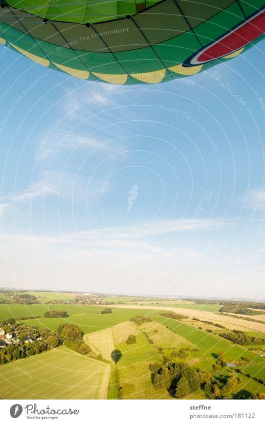Sky Tree Summer Relaxation Landscape Field Aviation Adventure Romance Idyll Hot Air Balloon Beautiful weather Surveillance