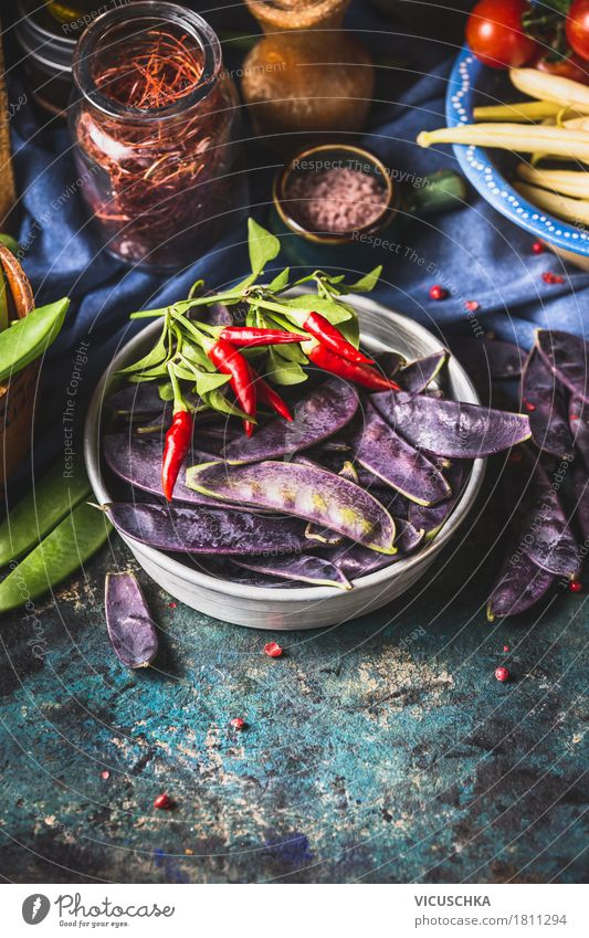 Purple pea pods with ingredients for cooking Food Vegetable Herbs and spices Nutrition Organic produce Vegetarian diet Diet Crockery Style Design Healthy Eating