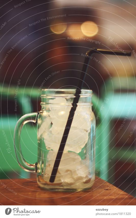 Ice in Glass Beverage Cold drink Cup Straw Water Simple White Thirst Table Colour photo Close-up Pattern Deserted