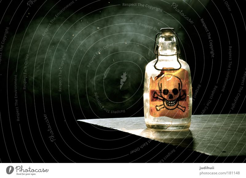 Poison or poison? Beverage Bottle Health care Intoxicant Alcoholic drinks Glass Sign Signage Warning sign Smoke Death's head Smoking Aggression Threat Dark