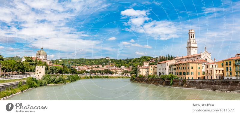 Verona in summer Vacation & Travel City trip Summer vacation Architecture Clouds Sunlight River Italy Europe Town Downtown Old town Skyline