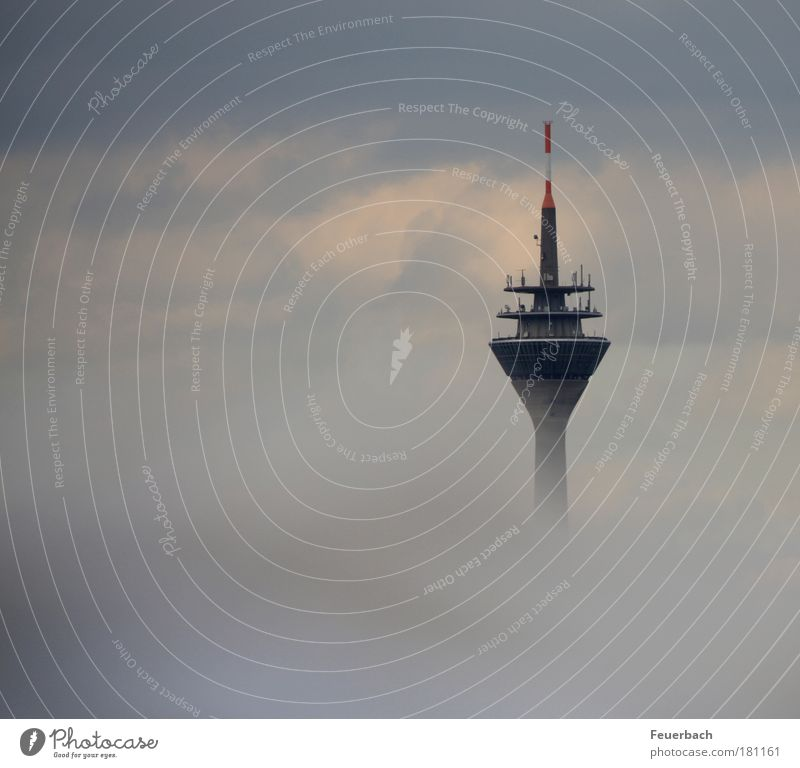 Radio tower above the clouds? Colour photo Subdued colour Exterior shot Deserted Day Blur Telecommunications Technology Advancement Future High-tech