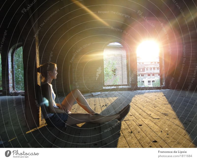 summer evening Well-being Contentment Adventure Summer Sun Attic Feminine Young woman Youth (Young adults) 1 Human being 18 - 30 years Adults Industrial plant