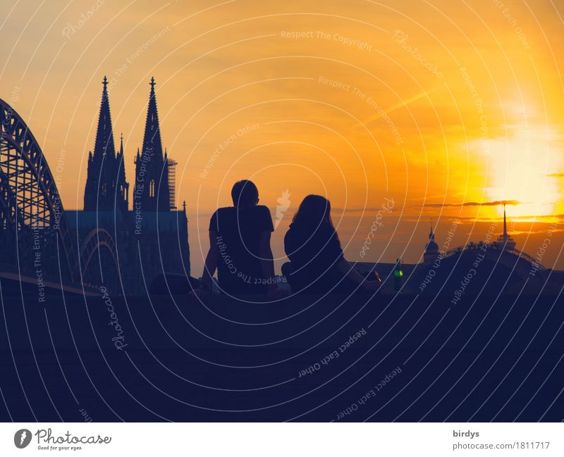 warm evening hours in Cologne Lifestyle Happy Vacation & Travel Tourism City trip Summer Sun Young woman Youth (Young adults) Young man Couple Partner 2