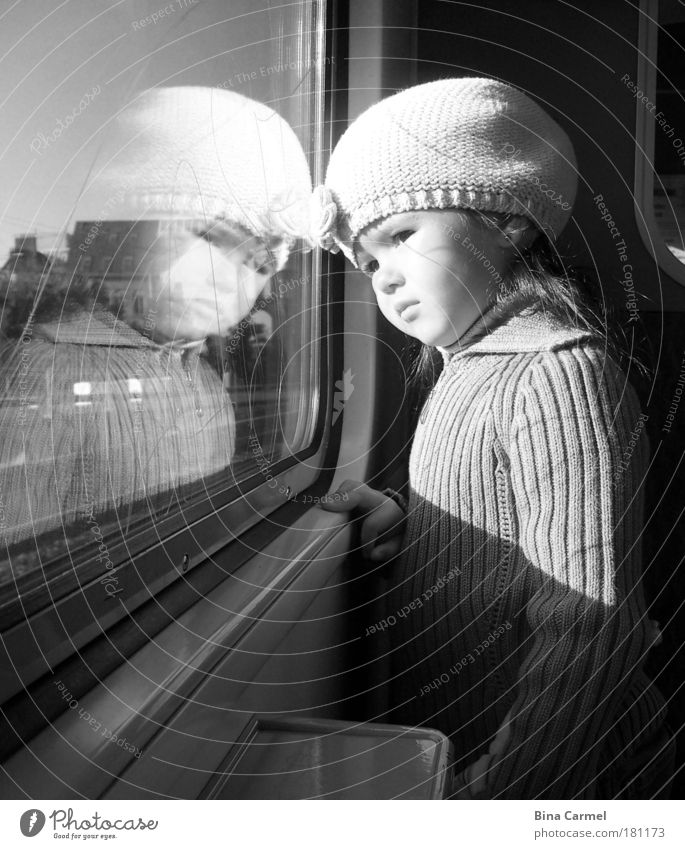 A moment of pearl Black & white photo Interior shot Day Portrait photograph Upper body Looking away Girl Infancy 1 Human being 3 - 8 years Child Commuter trains