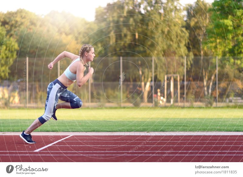 Female athlete training for a race Human being Woman Youth (Young adults) 18 - 30 years Face Adults Sports Happy Copy Space Blonde Power Smiling Fitness