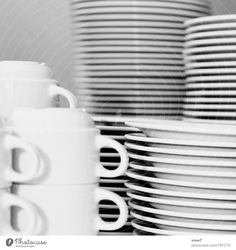 many friends Black & white photo Interior shot Close-up Detail Deserted Light Shallow depth of field Crockery Plate Cup Kitchen Restaurant Bowl Sign Simple
