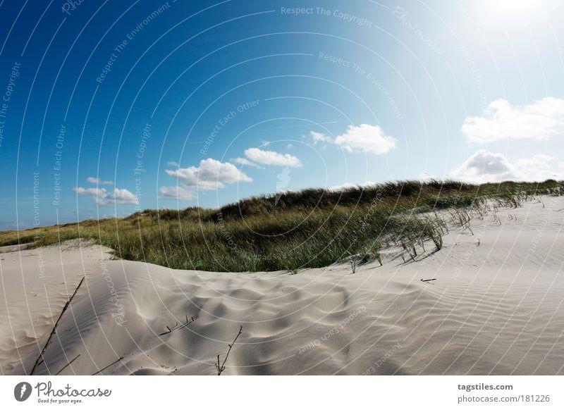Sky White Sun Blue Summer Vacation & Travel Clouds Ocean Relaxation Grass Warmth Sand Wind Island Idyll Beach dune