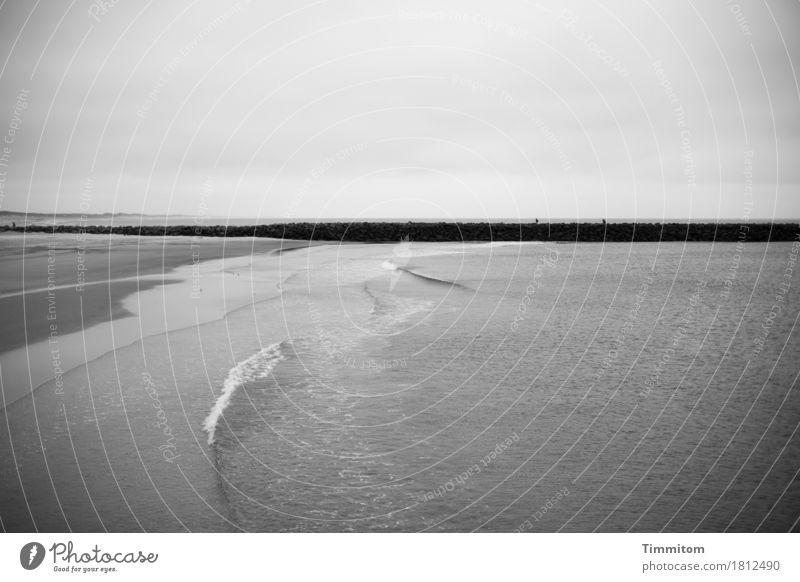 monotonous yawn mark Vacation & Travel Environment Nature Elements Sand Water Sky Waves Beach North Sea Denmark Mole Stone Esthetic Gray Black Emotions