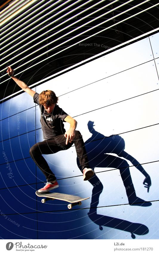 SHADOW-SKATER V Skateboarding Sports Action Wall (building) Shadow Trick Blue Silhouette Athletic Hand Arm Sunlight Visual spectacle Modern Architecture Punk