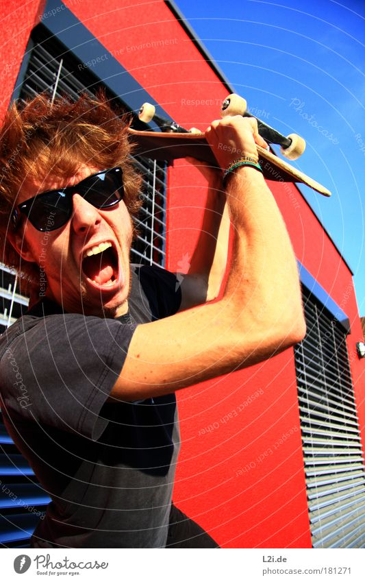 SCREAM IT OUT Skateboarding Sports Action Wall (building) Red Athletic Hand Arm Head Sunlight Visual spectacle Modern Punk Sunglasses Beat Aggression Scream
