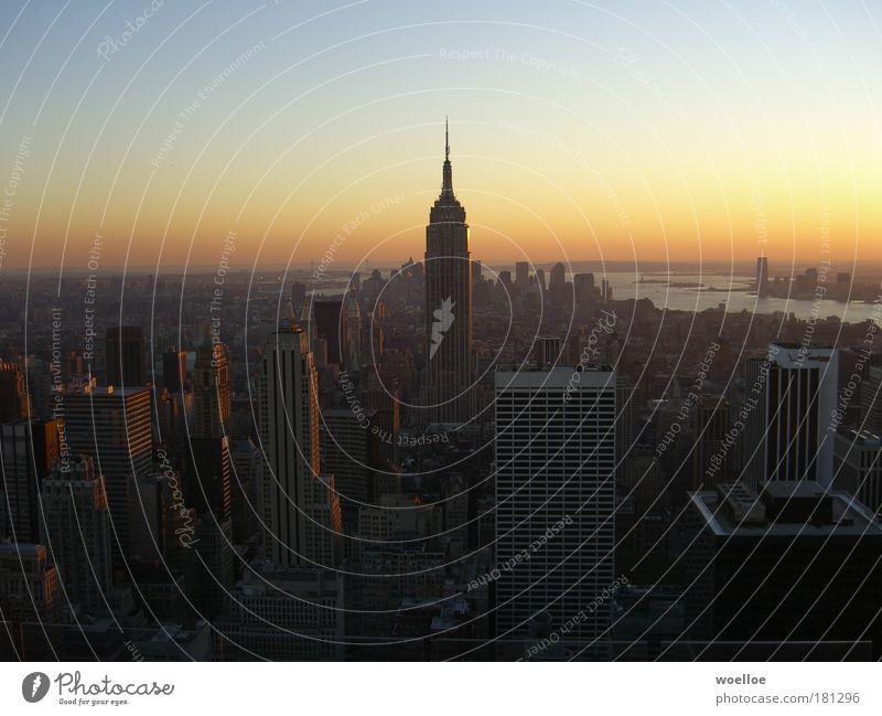 Skyline of Manhattan / New York Colour photo Exterior shot Aerial photograph Deserted Copy Space left Copy Space right Copy Space top Evening Twilight Shadow