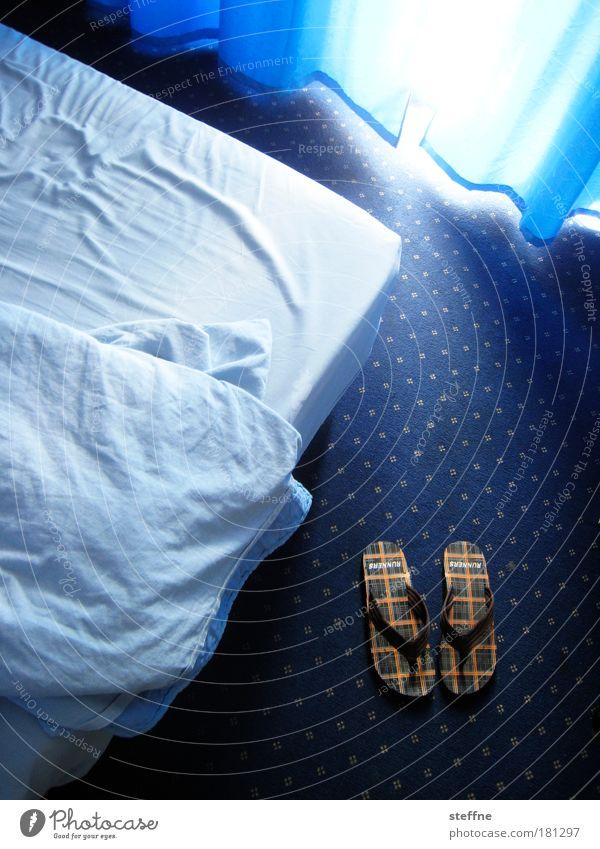 Blue Vacation & Travel Relaxation Tourism Bed Hotel Drape Carpet Sheet Duvet Flip-flops Slippers Bedclothes Hotel room Footwear Room