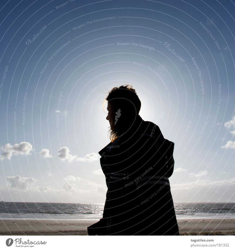 SILHOUETTE IN THE WIND Woman Back-light Sun Norderney East Frisland Summer Silhouette Ocean North Sea Mud flats Hiking Coat Jacket Colour photo Copy Space top