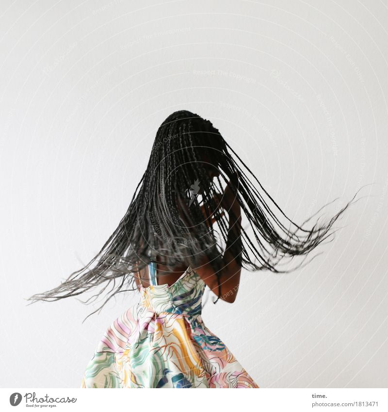 . Feminine 1 Human being Art Dance Dancer Dress Hair and hairstyles Black-haired Long-haired Dreadlocks Movement Rotate To hold on Esthetic Fresh Beautiful Joy
