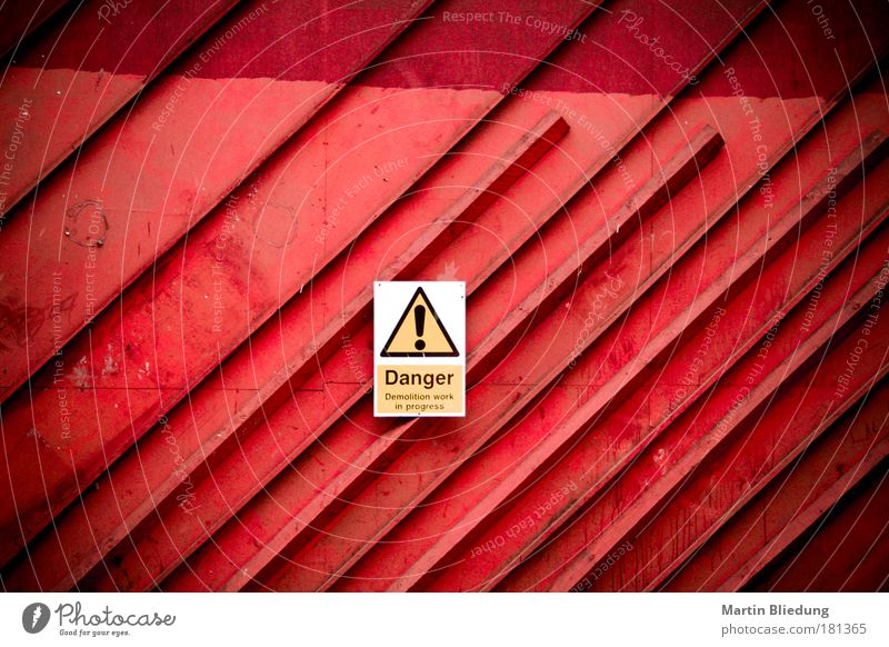 City White Red Yellow Architecture Building Line Metal Fear Perspective Dangerous Threat Industry Construction site Change Gate