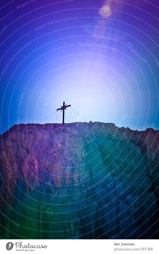 Nature Blue Mountain Wood Stone Art Rock Tall Alps Sign Peak Steel Crucifix Sunbeam Mountaineering Peak cross