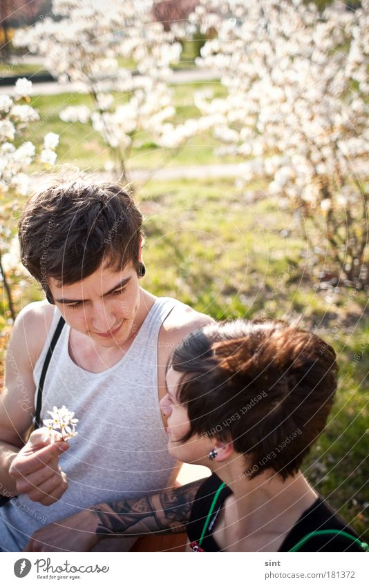 Human being Youth (Young adults) Adults Love Feminine Emotions Blossom Happy Style Park Couple Friendship Man Contentment Together