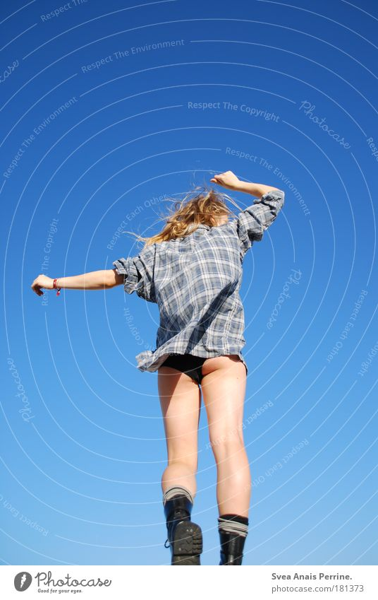 be blue Dance Feminine Young woman Youth (Young adults) Bottom Legs Shirt Long-haired Punk Breathe Rotate Looking Playing Illuminate Exceptional Blonde