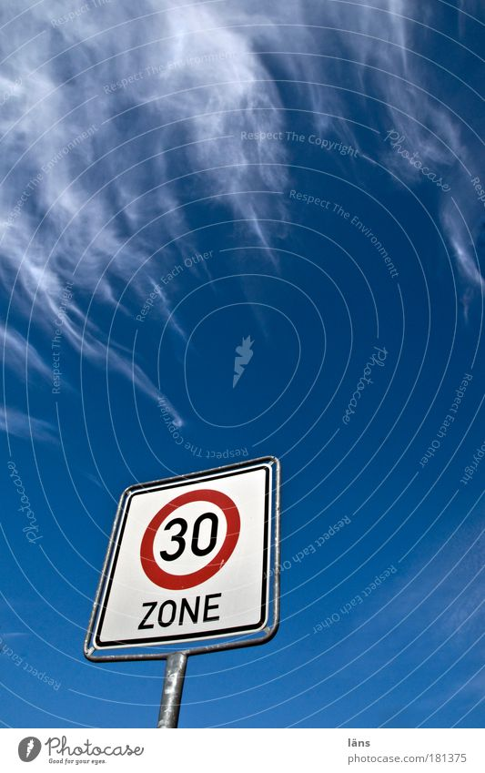 Speed 30 Zone Colour photo Exterior shot Deserted Copy Space right Copy Space bottom Copy Space middle Day Worm's-eye view Wide angle Sky Clouds
