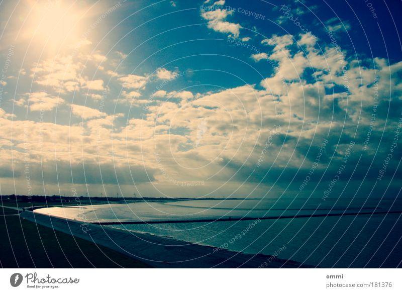 Sky Nature Water Blue White Sun Beach Clouds Calm Far-off places Landscape Happy Coast Air Bright Horizon