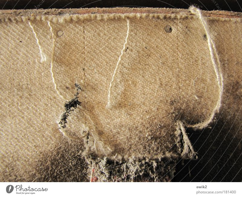 Threads and lint Colour photo Subdued colour Interior shot Close-up Detail Pattern Structures and shapes Deserted Night Shadow Contrast Cloth Firm Leather Old