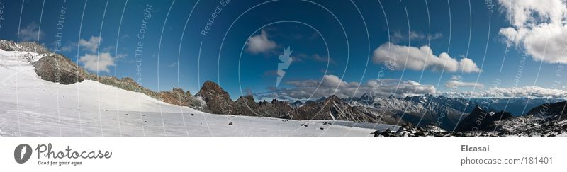 At the Glockner Colour photo Exterior shot Deserted Day Sunlight Panorama (View) Wide angle Vacation & Travel Tourism Far-off places Freedom Expedition Winter