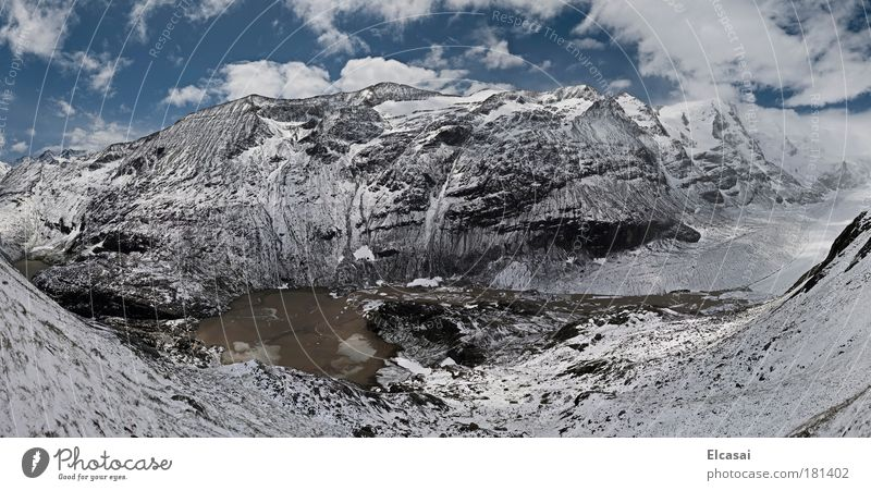 Franz-Josefs-Höhe Colour photo Exterior shot Deserted Panorama (View) Wide angle Environment Nature Landscape Air Sky Clouds Ice Frost Snow Alps Mountain