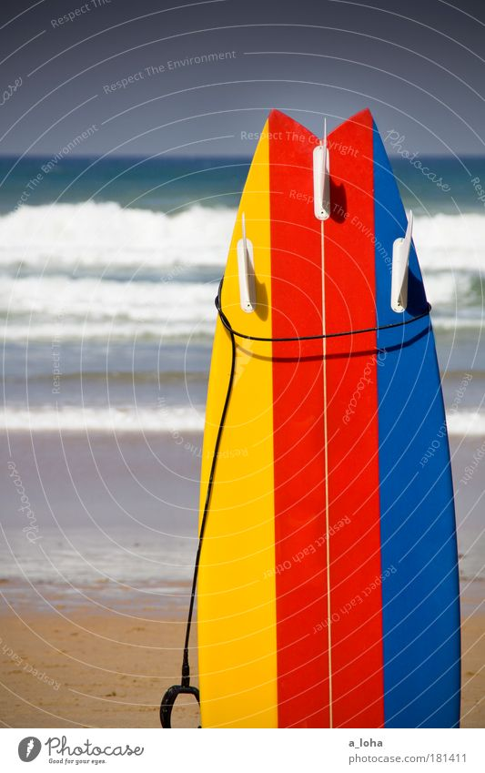 yellow-red-blue Summer Sports Surfboard Surfing Water Cloudless sky Waves Beach Ocean Sand Line Stripe Uniqueness Modern Clean Point Blue Yellow Red