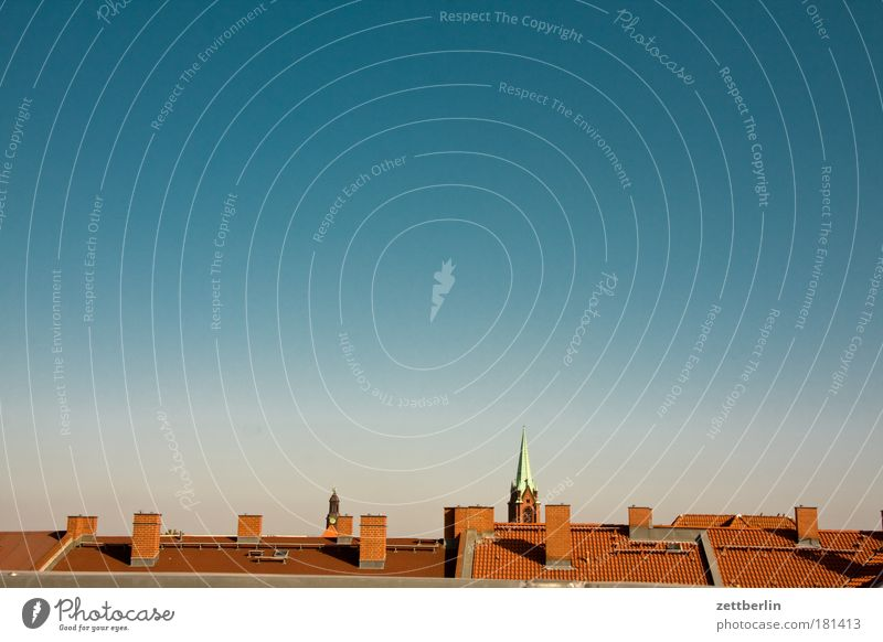 rooftops Skyline Roof Chimney Beautiful weather Cloudless sky Fog Haze Morning Church Church spire Wake up Copy Space