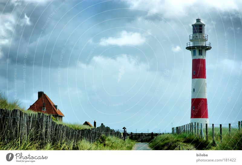 lighthouse Colour photo Exterior shot Deserted Copy Space left Copy Space top Copy Space middle Day Deep depth of field Nature Landscape Sky Storm clouds Summer
