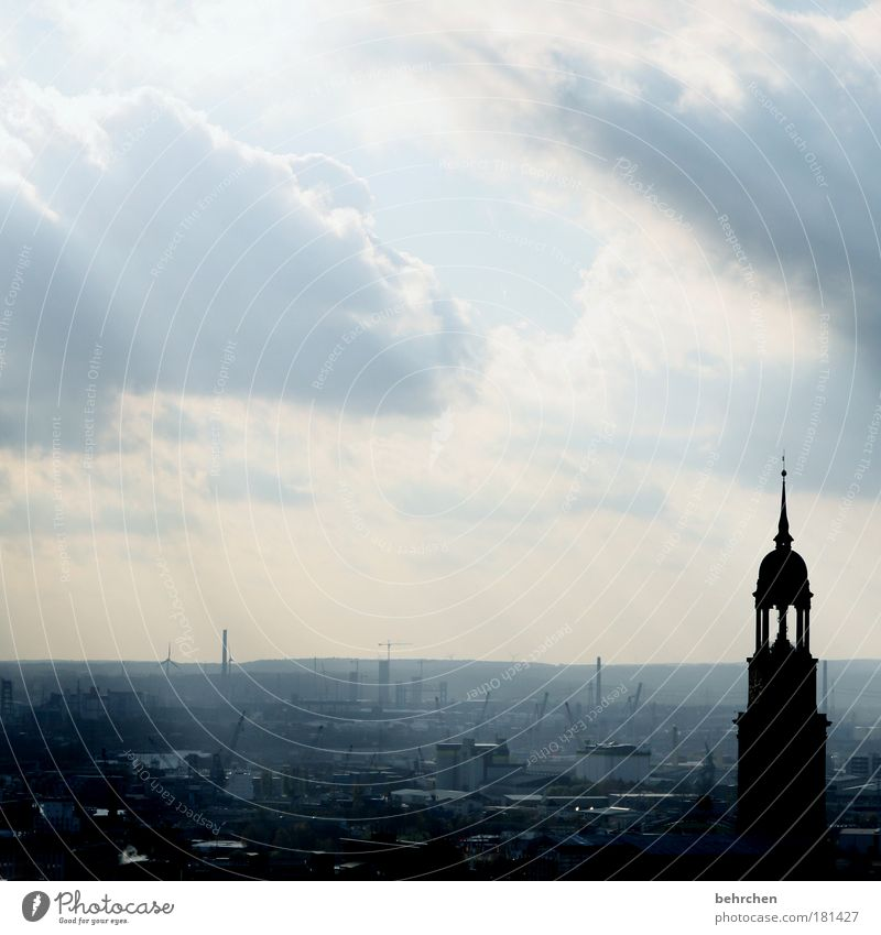 Beautiful Sky Clouds Rain Contentment Architecture Wind Free Hamburg City Church Vantage point Roof Harbour Infinity Manmade structures