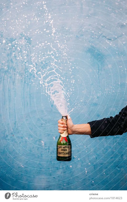 Save Water drink champagne Beverage Cold drink Alcoholic drinks Sparkling wine Prosecco Champagne Bottle Hand Funny Sustainability water alcohol drinking party