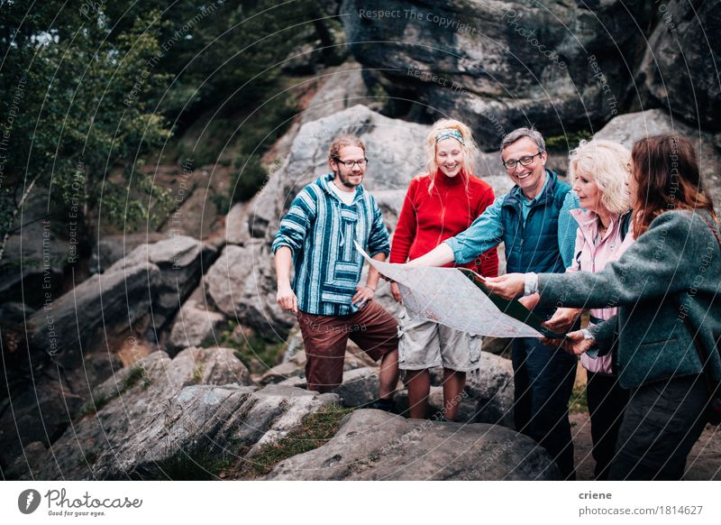 Group of mixed aged people following tour guide Joy Mountain Adults Senior citizen Lanes & trails Sports Lifestyle Family & Relations Group Rock Together Tourism Leisure and hobbies Hiking Modern Action