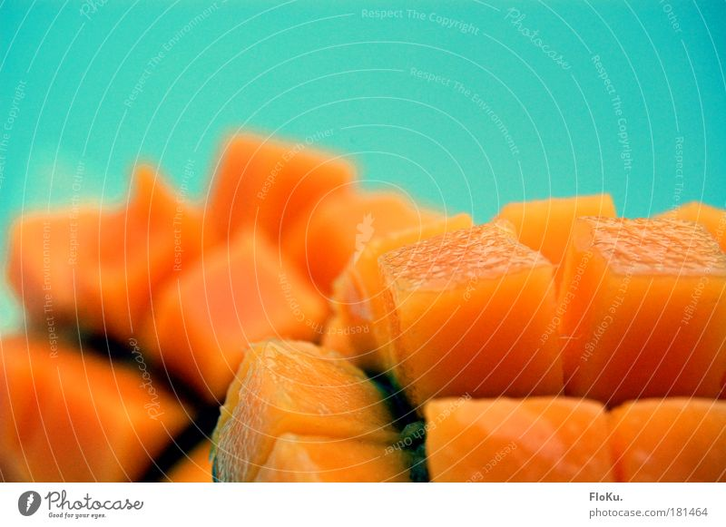 Blue Healthy Orange Fruit Food Nutrition Healthy Eating Sweet Abstract Exotic Vitamin Cube Mango Tropical fruits