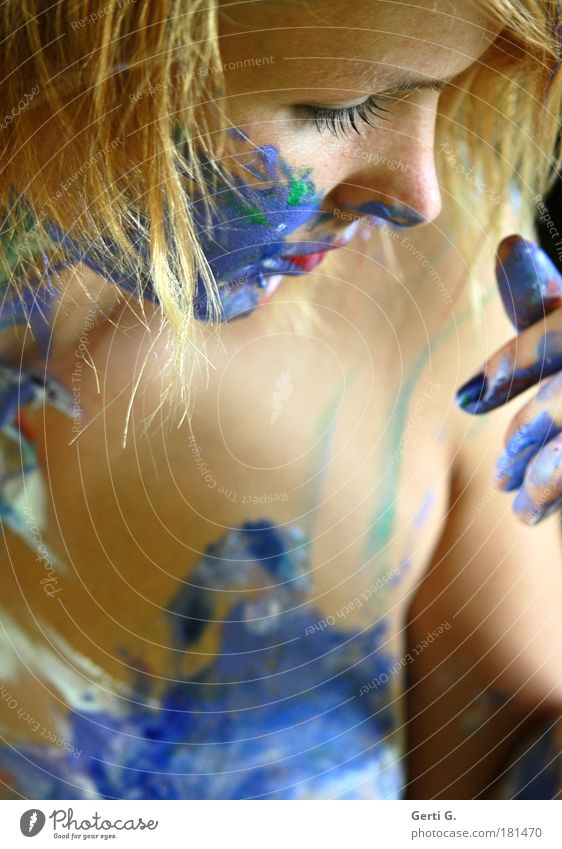 *¶ Touch ¶ Woman Painted Bodypainting Colour Fingers Face Naked Nose Cheek Delicate Blonde Multicoloured Skin Skin color