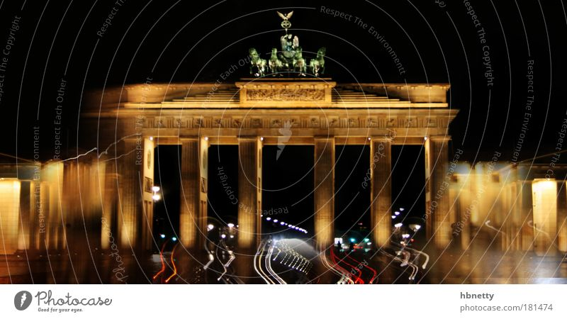 Berlin Colour photo Exterior shot Experimental Abstract Deserted Night Long exposure Germany Gate Architecture Tourist Attraction Landmark Monument