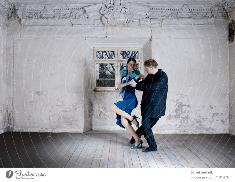 controlled devotion. Elegant Interior design Room Dance Couple 2 Human being Dancer Tango dancer Music Movement To hold on Esthetic Together Near Eroticism Blue