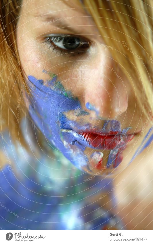 *quiet Face Woman Blonde Beautiful Painted Bodypainting Mouth Colour Think Meditative Calm Eyes Nose Portrait photograph Shallow depth of field Perspective