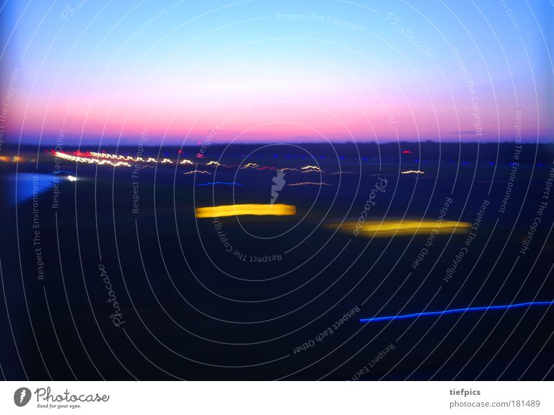 landing. Multicoloured Copy Space top Sunrise Sunset Climate Climate change Weather Aviation Airplane Fear of death Vacation & Travel Flying Pink Motion blur