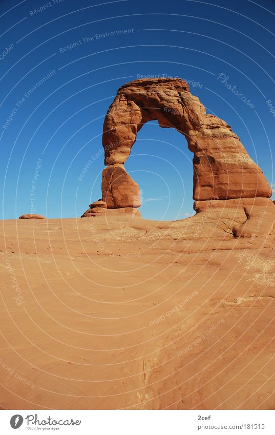 Delicate Arch Colour photo Exterior shot Structures and shapes Deserted Copy Space bottom Wide angle Elements Earth Sand Cloudless sky Beautiful weather Rock