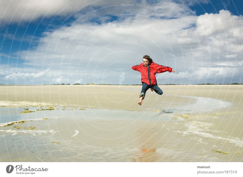 Human being Child Nature Youth (Young adults) Water Vacation & Travel Summer Joy Beach Calm Autumn Life Environment Freedom Boy (child) Movement