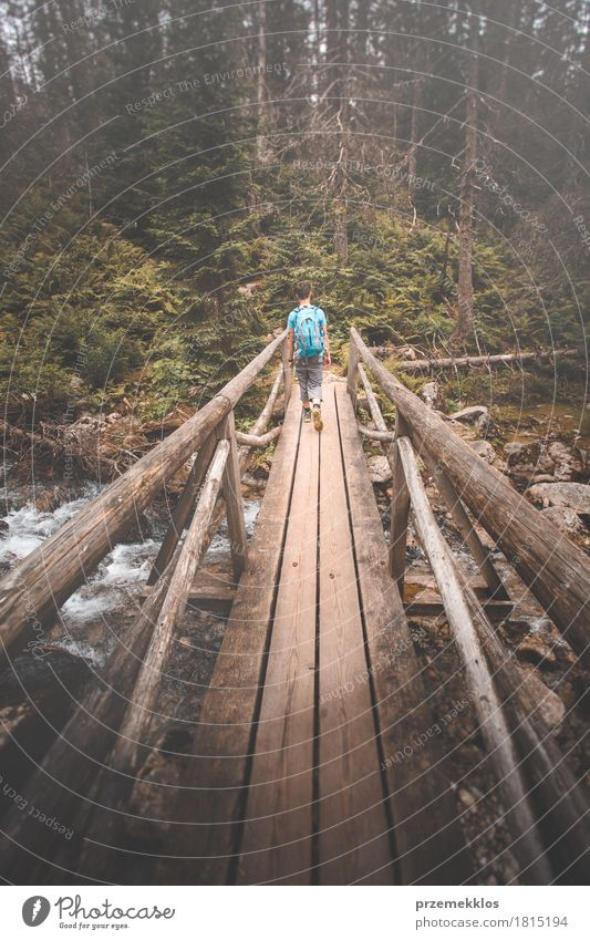 Boy going across wooden bridge over mountain river Lifestyle Vacation & Travel Adventure Freedom Summer Mountain Hiking Boy (child) 1 Human being Bridge