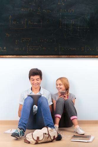 Teenagers learning by a blackboard at school Education School Classroom Blackboard Schoolchild Student Academic studies Study University & College student