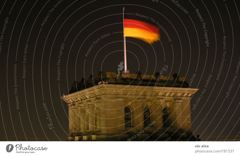 Red Calm Black Berlin Movement Freedom Together Lighting Gold Night Might Flag Monument German Flag Historic Landmark